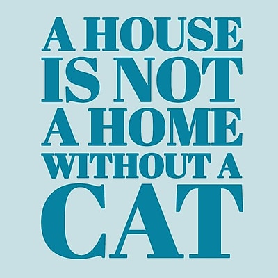 SweetumsWallDecals 'A House Is Not a Home Without a Cat' Wall Decal; Teal