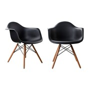 AttractionDesignHome Modern Designer Plastic Dinning Side Chair (Set of 2); Black