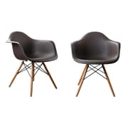 AttractionDesignHome Modern Designer Plastic Dinning Side Chair (Set of 2); Brown