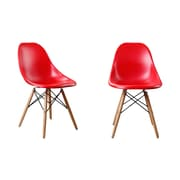 AttractionDesignHome Modern Designer Plastic Dinning Side Chair (Set of 2); Red