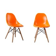 AttractionDesignHome Modern Designer Plastic Dinning Side Chair (Set of 2); Orange