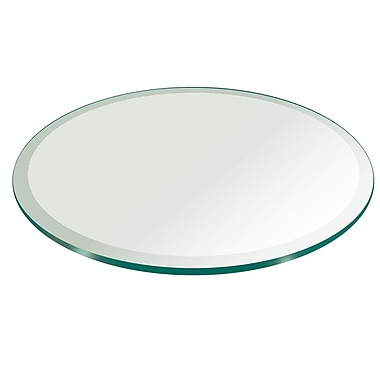 Fab Glass and Mirror Round Beveled Edge Tempered Glass Table Top