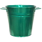 Houston International Galvanized Steel Pot Planter; Glazed Green