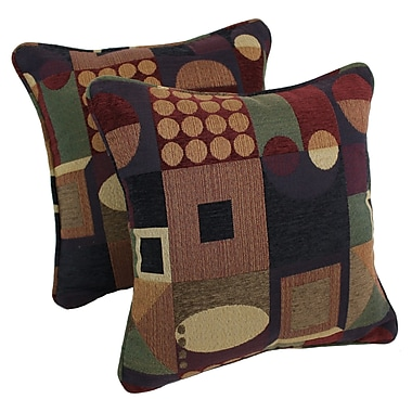 Blazing Needles Jaquard Chenille Throw Pillow (Set of 2); Signature Square Picasso