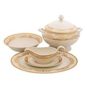 Shinepukur Ceramics USA, Inc. Caramel Ivory China Special Serving 5 Piece Dinnerware Set
