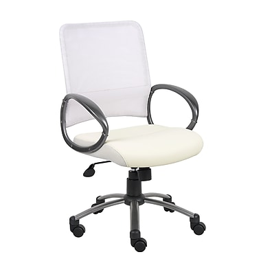 Boss White Mesh Back with Pewter Finish Task Chair (B6406-WT)