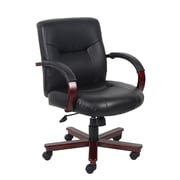 Boss Executive Leather Mid Back Chair with Mahogany Finished Wood (B8906)