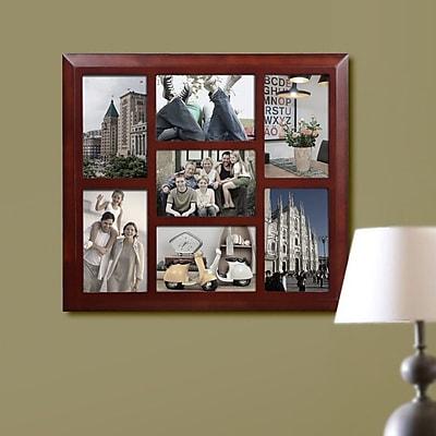 Homebeez 7 Slot Square Wood Picture Frame; Walnut