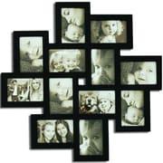 Homebeez 12 Slot Wood Collage Picture Frame; Black