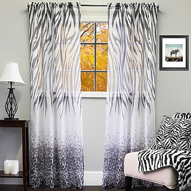 Sweet Home Collection Sheer Exotic Animal Print Indoor/Outdoor Single Curtain Panel; Black