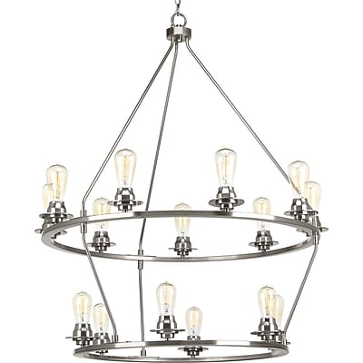 Williston Forge Miesha 15-Light Candle-Style Chandelier; Brushed Nickel