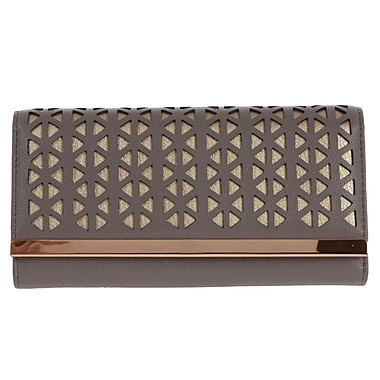 Club Rochelier Clutch Wallet with Gusset, Grey/Gold