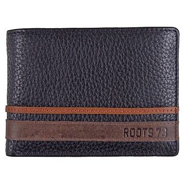 Roots 73 Leather Slimfold Wallet with Removable ID, Black Combo