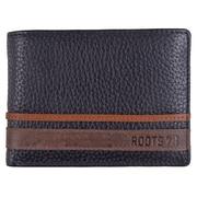 Roots 73 – Portefeuille mince en cuir avec porte-carte d'identité amovible, ensemble noir