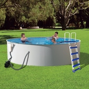 "Blue Wave Presto Round Metal Wall Swimming Pool, 12'(Dia) x 52""(D), Night Owl"