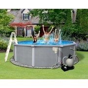 "Blue Wave Zanzibar Round 8"" Top Rail Metal Wall Swimming Pool, 30'(Dia) x 54""(D), Light Gray"
