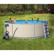 """Blue Wave Rugged Steel Round Metal Wall Swimming Pool, 15'(Dia) x 52""""(D), Gray"""