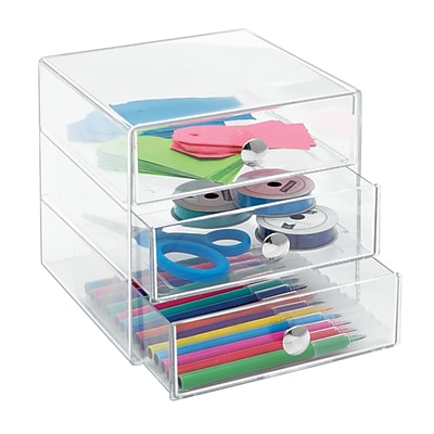 3 Drawer Organizer, for Pens, Highlighters, Tape, etc. and Office Supplies, Clear (35300)