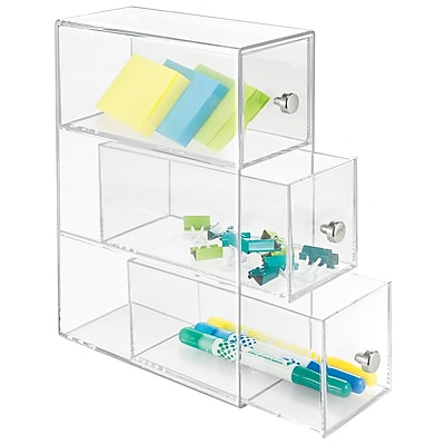 InterDesign Plastic 3 Drawer Flip Drawers Tower, Clear (39460)