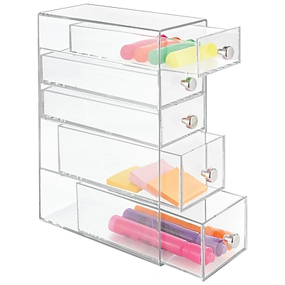 Clarity Great as a pencil box, desk organizer, art supplies organizer, craft box, and more - 5 Drawers, Clear (39560)