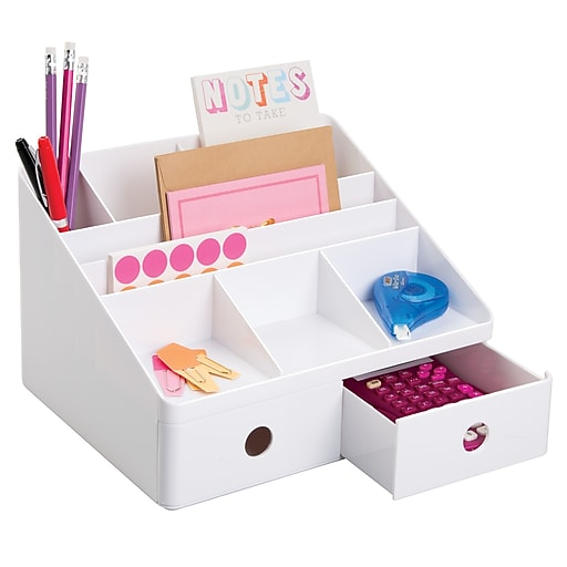linus office supplies desk organizer with drawers for pens markers notepads tape white. Black Bedroom Furniture Sets. Home Design Ideas