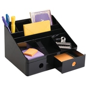 Office Supplies Desk Organizer, with Drawers, for Pens, Markers, Highlighters, Sticky Notes, Scissors - Black (42017)