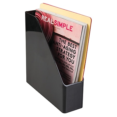 Office Supplies Desk Organizer, for Magazines, Files, Folders, Notepads - Black (42047)