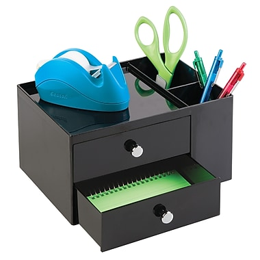 Office Supplies Desk Organizer, for Staplers, Scissors, Pens, Markers, Highlighters, Notepads - 2 Drawers, Black (42152)