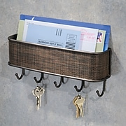 InterDesign® Twillo Wallmount Mail and Key Rack, Bronze