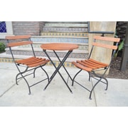 Innova Hearth and Home Uptown 3 Piece Folding Bistro Set; Black