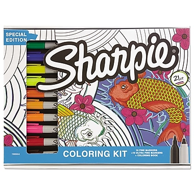 Sharpie Adult Coloring Kit Aquatic Theme Book With 20 Markers