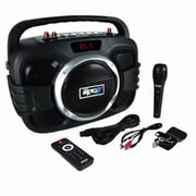 Pyle PWMA245BT Compact Bluetooth BoomBox Microphone/Speaker System, Black/Silver