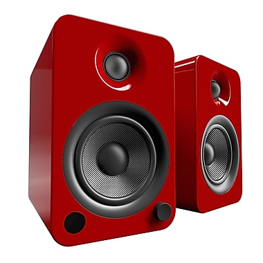 Kanto – Haut-parleurs amplifiés YU4 avec Bluetooth et pré-ampli phono, rouge lustré