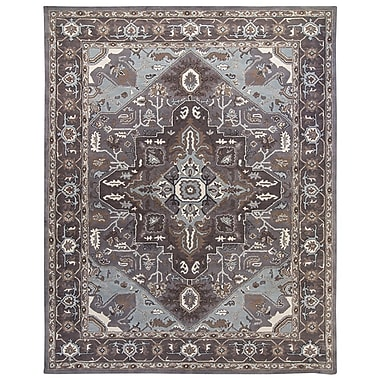 Due Process Stable Trading Co Heriz Hand-Tufted Pearl/Steel Area Rug; Round 10'