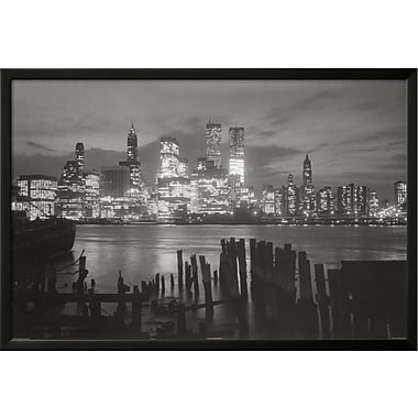 Buy Art For Less 'New York City at Night Skyline' Framed Photographic Print; 24'' H x 36'' W x 1'' D