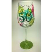 Pat Barker Designs 50th Birthday Wine Glass