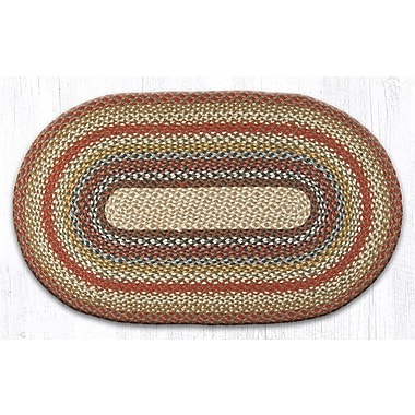 August Grove Braided Red / Brown Area Rug; Oval 2'3'' x 3'9''