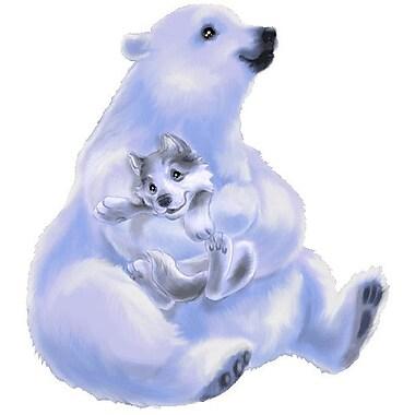 Wallhogs Polar Bear w/ Wolf Cutout Wall Decal; 48'' H x 44.5'' W