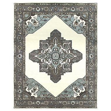 Due Process Stable Trading Co Heriz Hand-Tufted Sand/Pearl Area Rug; Rectangle 3'6'' x 5'6''