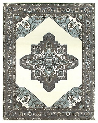 Due Process Stable Trading Co Heriz Hand-Tufted Sand/Pearl Area Rug; Square 12'