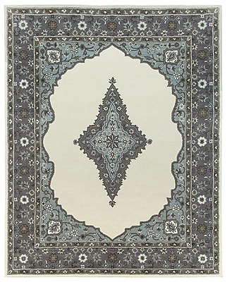 Due Process Stable Trading Co Bidjar Hand-Tufted Sand/Pearl Area Rug; Round 8'