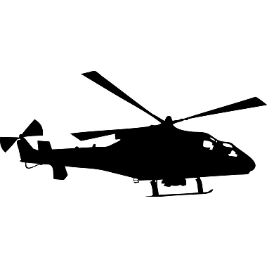 Wallhogs Haynes Silhouette Helicopter IX Cutout Wall Decal; 17'' H x 36'' W