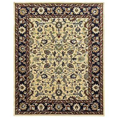 Due Process Stable Trading Co Ziegler Hand-Tufted Cream/Midnight Area Rug; Round 6'