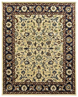 Due Process Stable Trading Co Ziegler Hand-Tufted Cream/Midnight Area Rug; Rectangle 8' x 10'