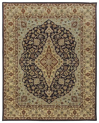 Due Process Stable Trading Co Bidjar Hand-Tufted Midnight/Cream Area Rug; Round 6'