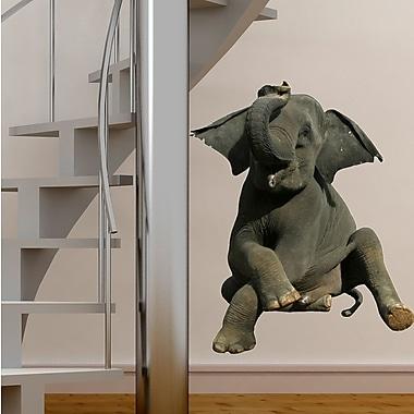 Wallhogs Sitting Baby Elephant Cutout Wall Decal; 36'' H x 29.5'' W