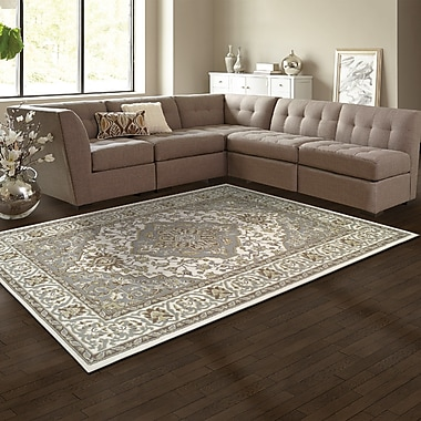 Simple Luxury Glendale Olive Green/Gray/Ivory Area Rug; 8' x 10'