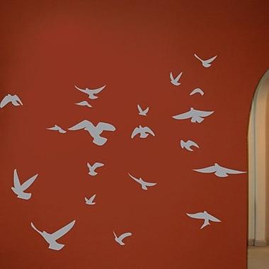 Wallhogs Soaring Birds Silhouette Wall Decal; Gray