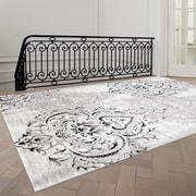 Fleur De Lis Living Abbate Venetian Grey/White Area Rug; 7'10'' x 10'6''