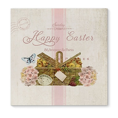Kavka 'Happy Easter w/ Basket of Chicks' Graphic Art print on Wrapped Canvas